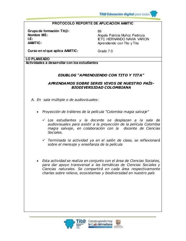 PROTOCOLO REPORTE DE APLICACIÓN AAMTIC Grupo de formación Tit@: 89 Nombre ME: Ángela Patricia Muñoz Pedroza I.E: IETC HERN...