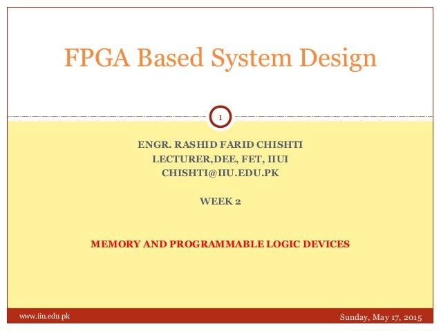 ENGR. RASHID FARID CHISHTI LECTURER,DEE, FET, IIUI CHISHTI@IIU.EDU.PK WEEK 2 MEMORY AND PROGRAMMABLE LOGIC DEVICES FPGA Ba...