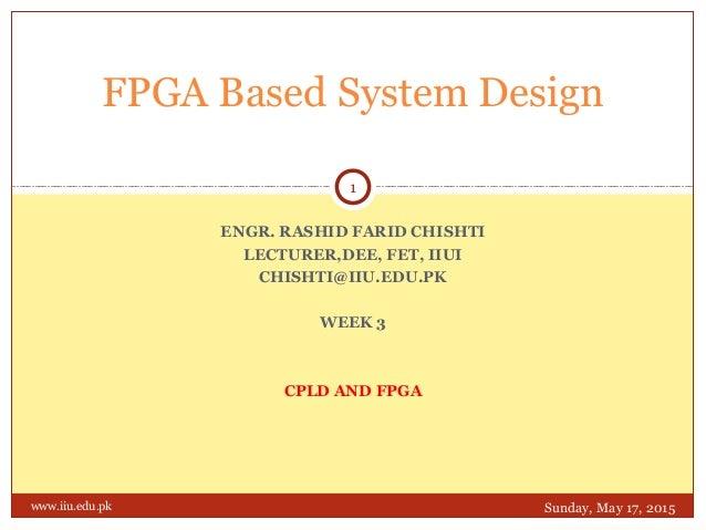 ENGR. RASHID FARID CHISHTI LECTURER,DEE, FET, IIUI CHISHTI@IIU.EDU.PK WEEK 3 CPLD AND FPGA FPGA Based System Design Sunday...
