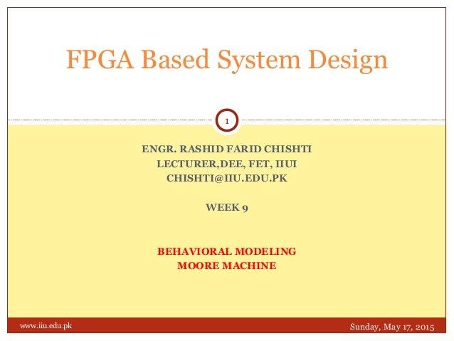 ENGR. RASHID FARID CHISHTI LECTURER,DEE, FET, IIUI CHISHTI@IIU.EDU.PK WEEK 9 BEHAVIORAL MODELING MOORE MACHINE FPGA Based ...