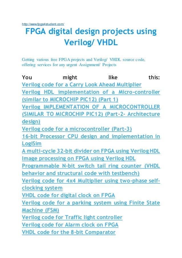 Fpga projects using verilog vhdl