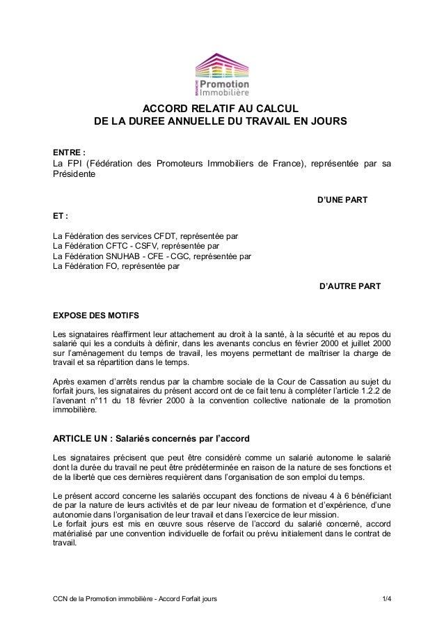 ACCORD RELATIF AU CALCUL DE LA DUREE ANNUELLE DU TRAVAIL EN JOURS ENTRE : La FPI (Fédération des Promoteurs Immobiliers de...