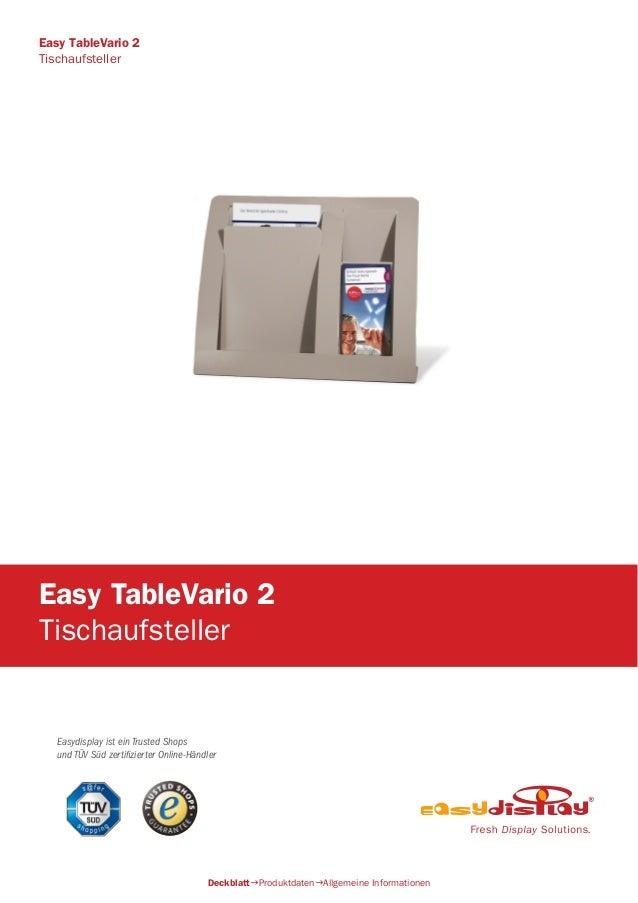 Easydisplay ist ein Trusted Shops und TÜV Süd zertifizierter Online-Händler Easy TableVario 2 Tischaufsteller DeckblattPr...