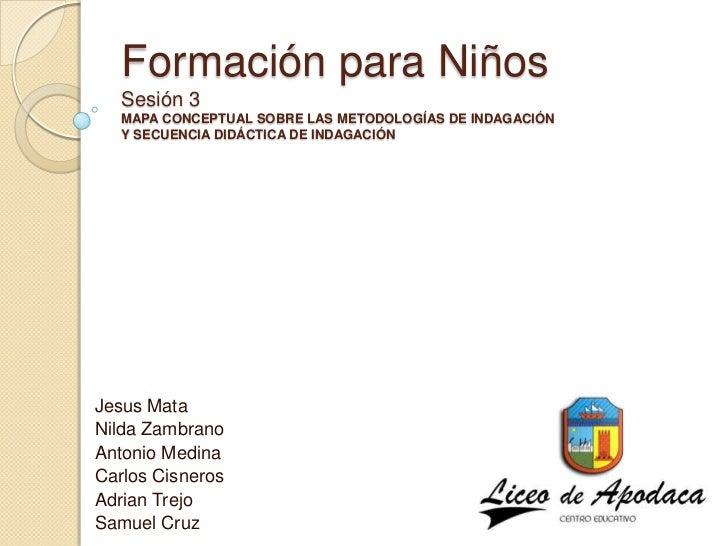 Formación para Niños   Sesión 3   MAPA CONCEPTUAL SOBRE LAS METODOLOGÍAS DE INDAGACIÓN   Y SECUENCIA DIDÁCTICA DE INDAGACI...