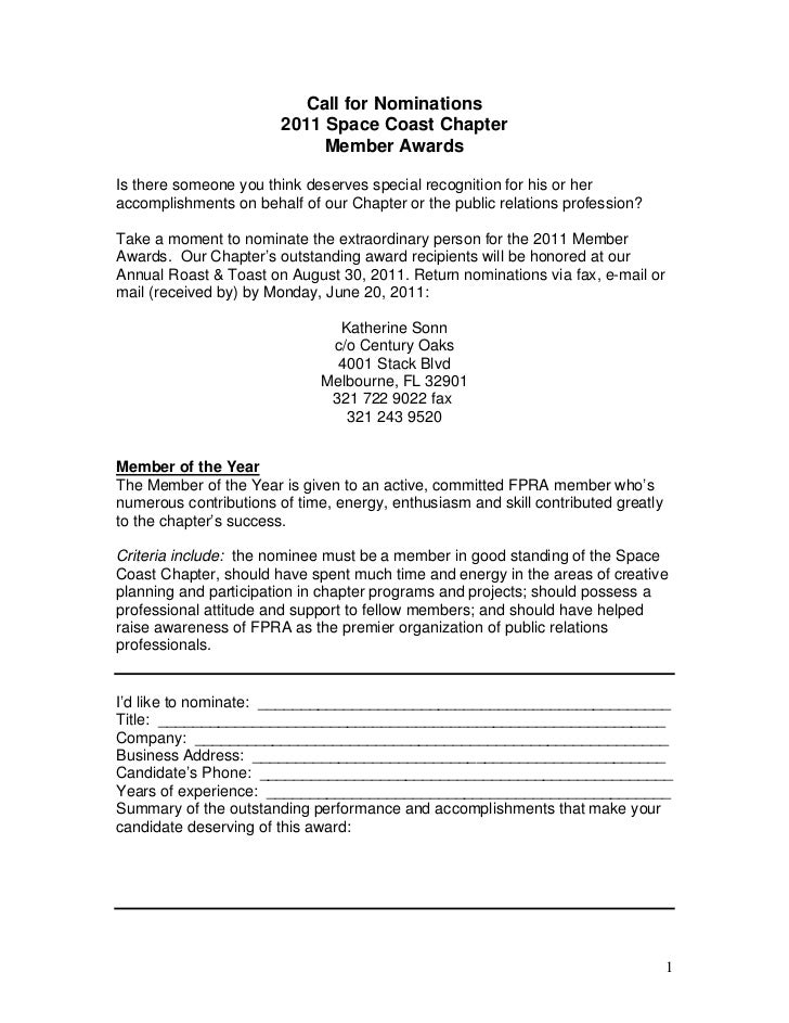 Call for Nominations                        2011 Space Coast Chapter                             Member AwardsIs there som...