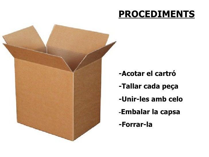 PROCEDIMENTS     -Acotar el cartró -Tallar cada peça -Unir-les amb celo -Embalar la capsa -Forrar-la
