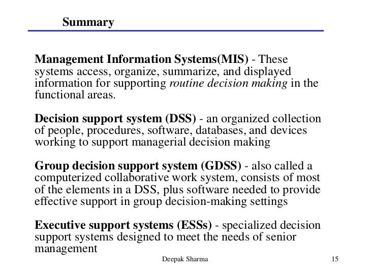 what is the relationship between tps mis dss and ess