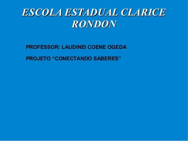 """EESSCCOOLLAA EESSTTAADDUUAALL CCLLAARRIICCEE  RROONNDDOONN  PROFESSOR: LAUDINEI COENE OGEDA  PROJETO """"CONECTANDO SABERES"""""""