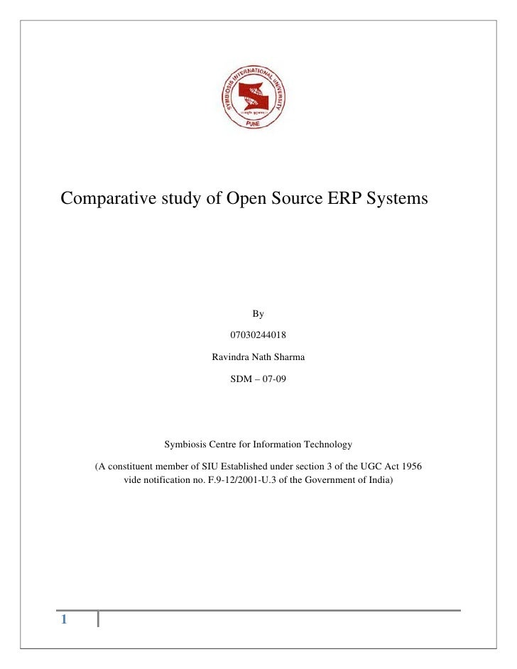 Comparative study of Open Source ERP Systems                                             By                               ...