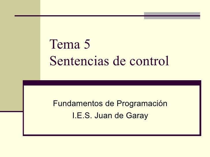 Tema 5 Sentencias de control Fundamentos de Programación I.E.S. Juan de Garay