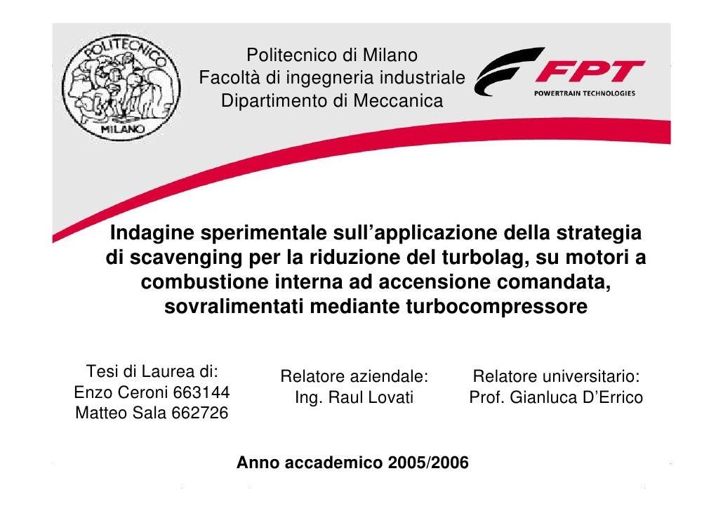Politecnico di Milano                   Facoltà di ingegneria industriale                     Dipartimento di Meccanica   ...