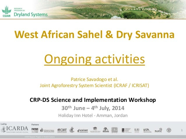 West African Sahel & Dry Savanna Ongoing activities Patrice Savadogo et al. Joint Agroforestry System Scientist (ICRAF / I...