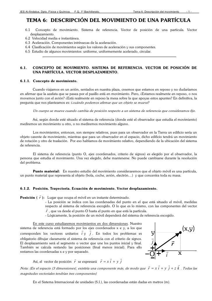 IES Al-Ándalus. Dpto. Física y Química.   F.Q. 1º Bachillerato.               Tema 6: Descripción del movimiento   -1-    ...