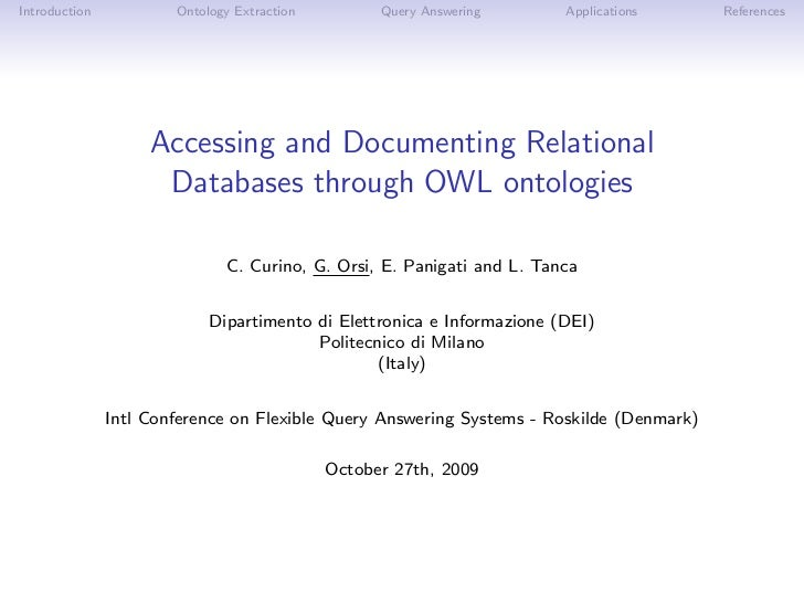 Introduction           Ontology Extraction         Query Answering       Applications     References                    Ac...