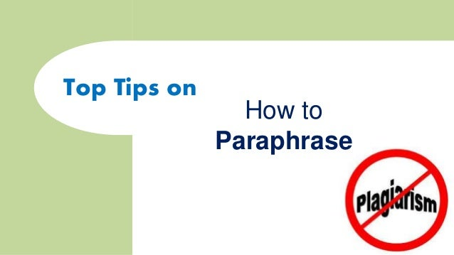 Top Tips On How To Paraphrase Sample