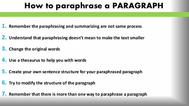 Top tips on how to paraphrase (sample)