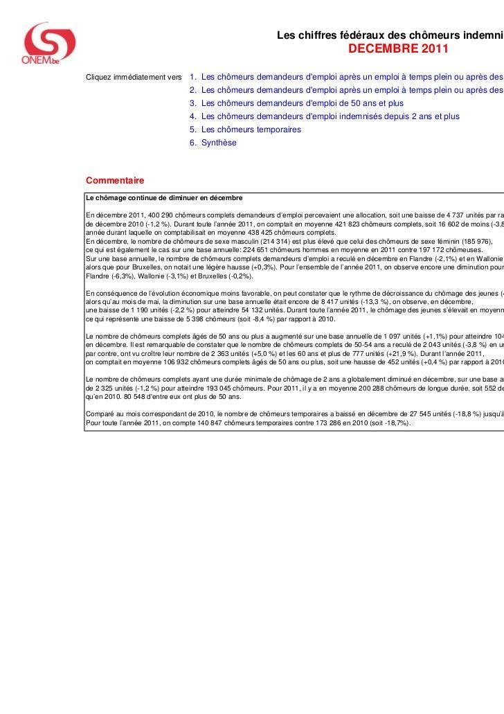 Les chiffres fédéraux des chômeurs indemnisés                                                                             ...