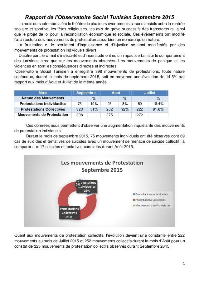 1 Rapport de l'Observatoire Social Tunisien Septembre 2015 Le mois de septembre a été le théâtre de plusieurs évènements c...