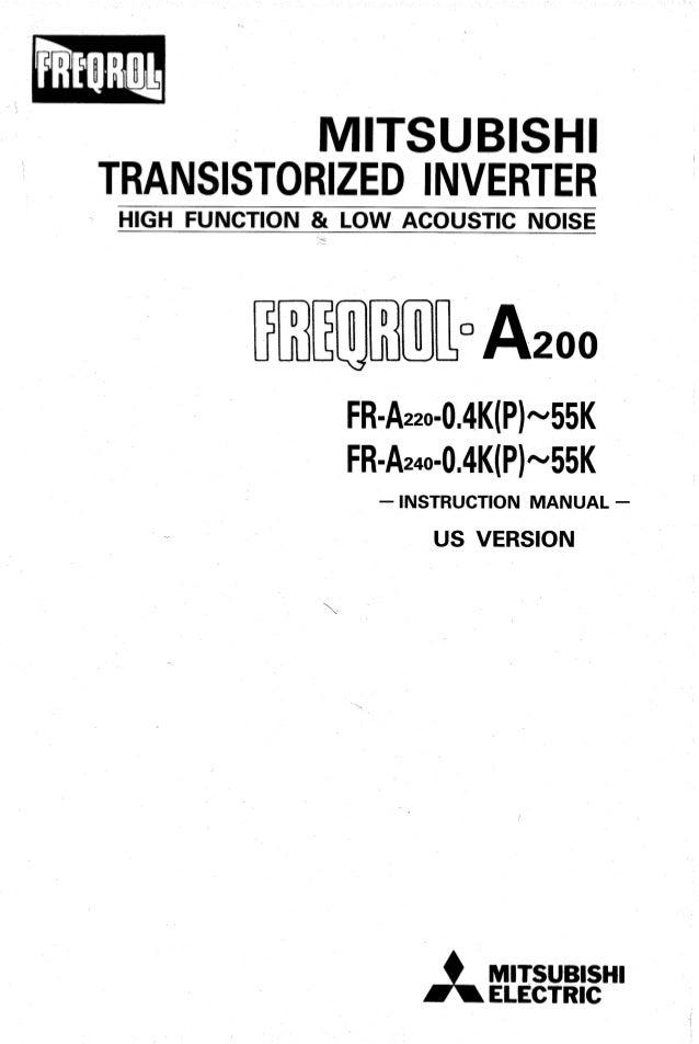 fr a200 rh slideshare net  mitsubishi freqrol a200 manual