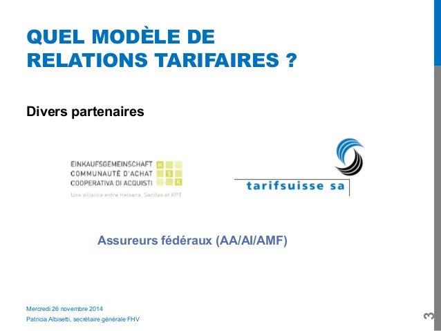 Quel modèle de relations tarifaires?- Patricia Albisetti (FHV) Slide 3