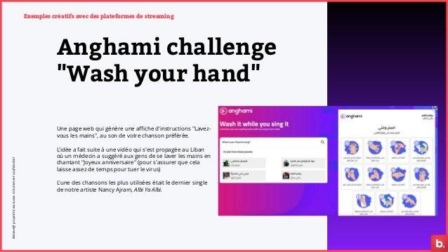 """Exemples créatifs avec des plateformes de streaming Anghami challenge """"Wash your hand"""" Une page web qui génère une affiche..."""