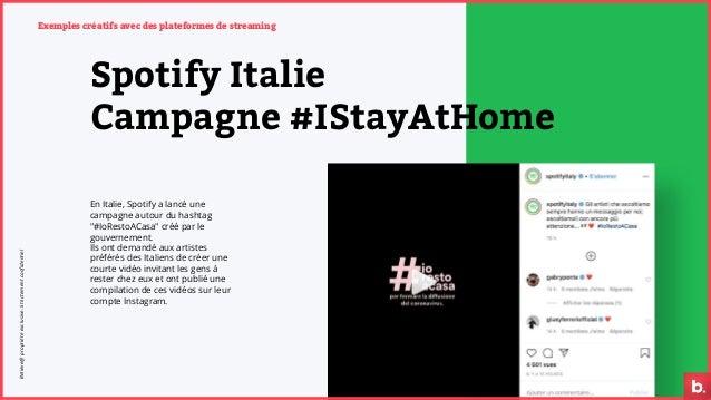 Exemples créatifs avec des plateformes de streaming Spotify Italie Campagne #IStayAtHome En Italie, Spotify a lancé une ca...