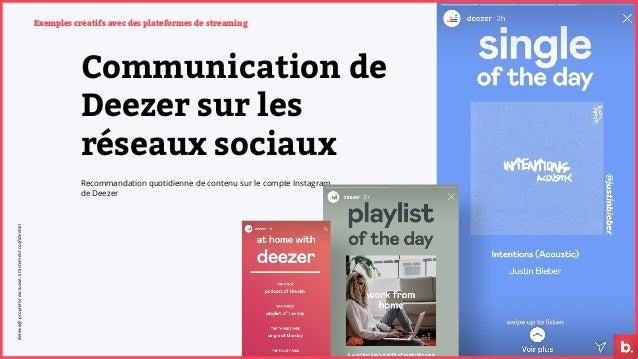 Exemples créatifs avec des plateformes de streaming Communication de Deezer sur les réseaux sociaux Recommandation quotidi...
