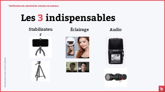 Vérification du matériel de création de contenu Les 3 indispensables Stabilisateu r Éclairage Audio Believe@propriétéexc...