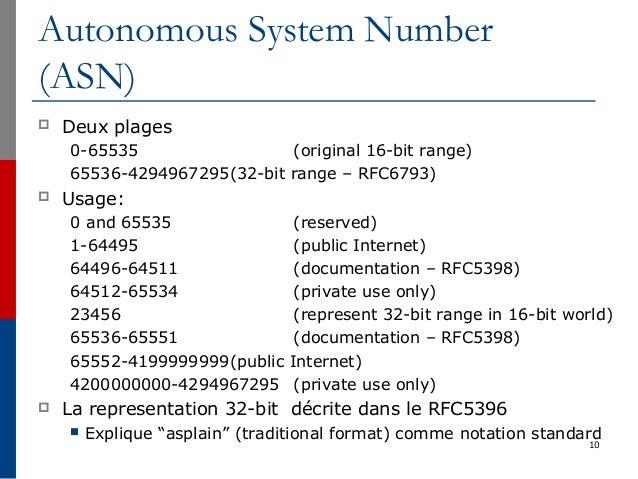 Autonomous System Number (ASN)  Deux plages 0-65535 (original 16-bit range) 65536-4294967295(32-bit range – RFC6793)  Us...