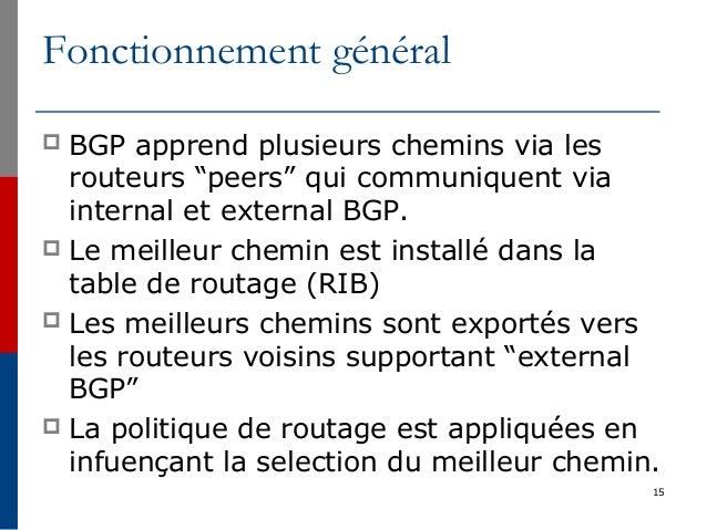"""15 Fonctionnement général  BGP apprend plusieurs chemins via les routeurs """"peers"""" qui communiquent via internal et extern..."""
