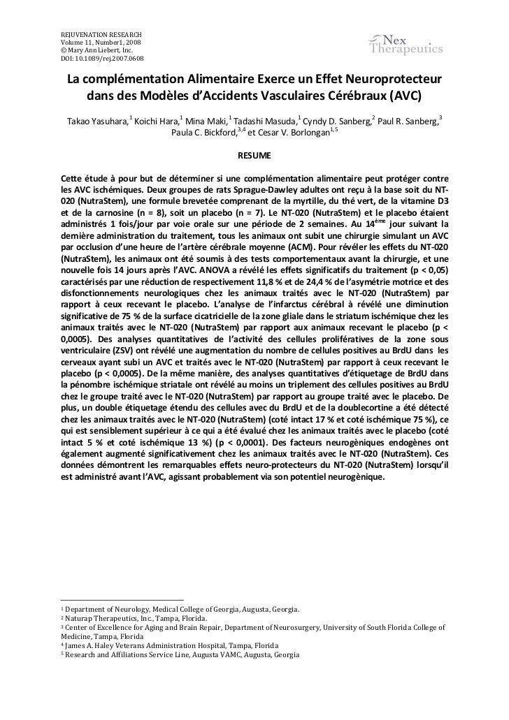 REJUVENATION RESEARCHVolume 11, Number1, 2008© Mary Ann Liebert, Inc.DOI: 10.1089/rej.2007.0608    La complémentation Alim...