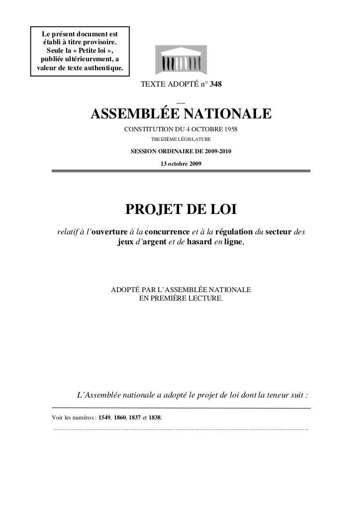 Le présent document est   établi à titre provisoire.    Seule la « Petite loi »,  publiée ultérieurement, a valeur de text...