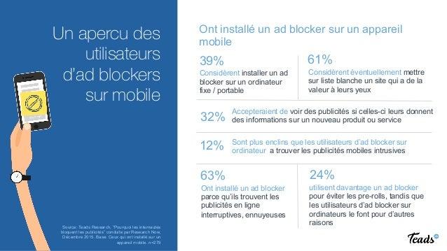 REINVENTING VIDEO ADVERTISING  Un apercu des utilisateurs d'ad blockers sur mobile 39% Considèrent installer un ad blocker...