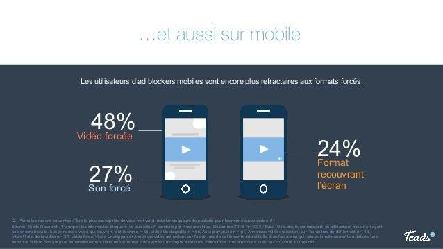 …et aussi sur mobile Les utilisateurs d'ad blockers mobiles sont encore plus refractaires aux formats forcés. Q: Parmi les...