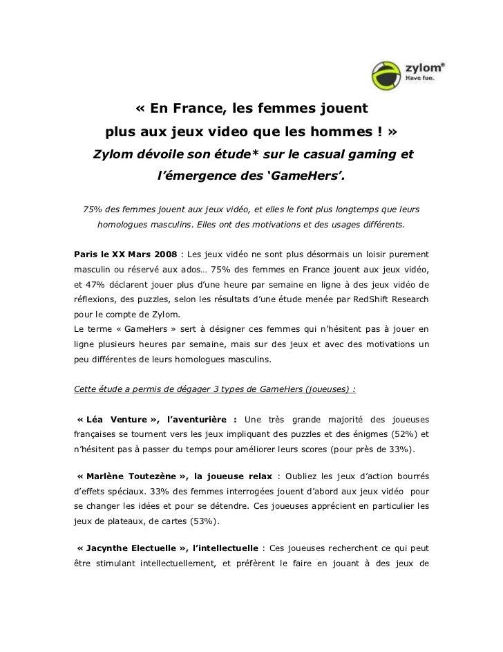 « En France, les femmes jouent       plus aux jeux video que les hommes ! »    Zylom dévoile son étude* sur le casual gami...