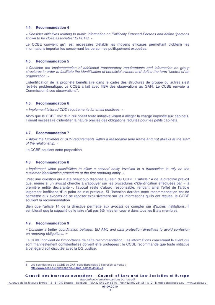 4.4.    Recommandation 4            « Consider initiatives relating to public information on Politically Exposed Persons a...