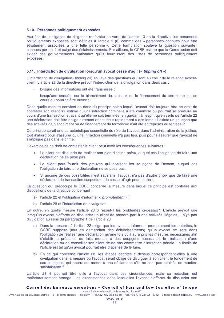 5.10. Personnes politiquement exposées            Aux fins de l'obligation de diligence renforcée en vertu de larticle 13 ...