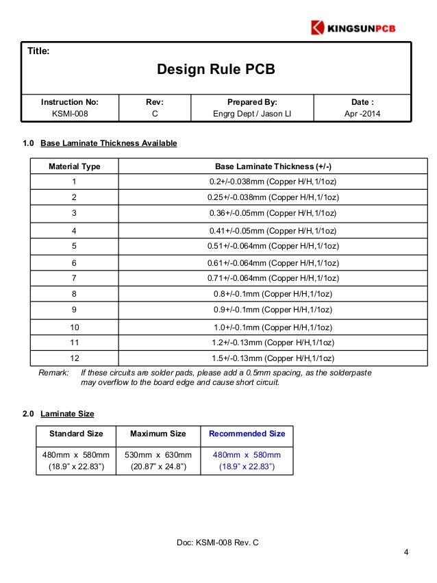 PCB manufacture design rule