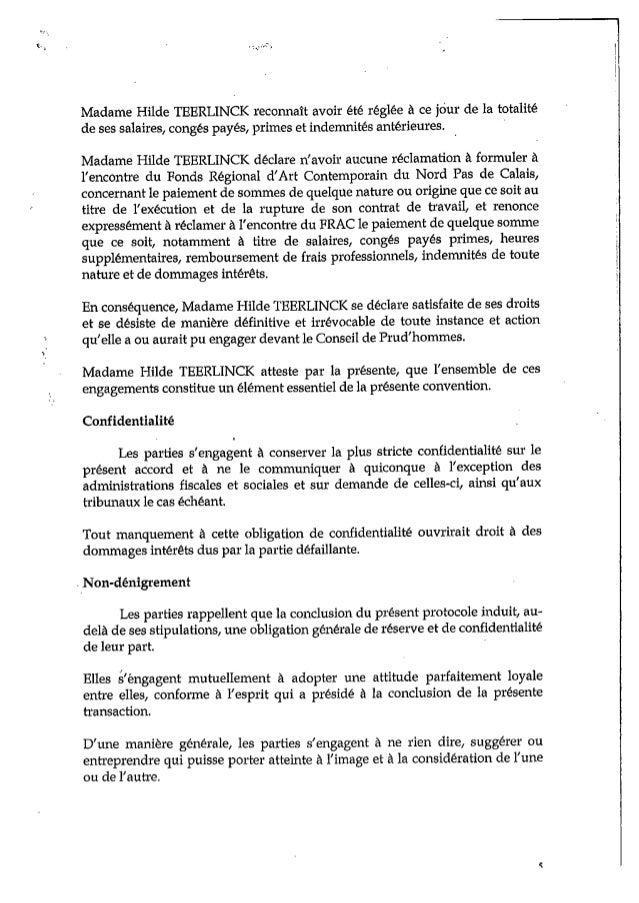 Le document détaillant la transaction entre le FRAC et Hilde Teerlink, retraçant la chronologie des dysfonctionnements.