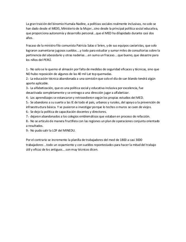 La gran traición del binomio Humala-Nadine, a políticas sociales realmente inclusivas, no solo se han dado desde el MIDIS,...