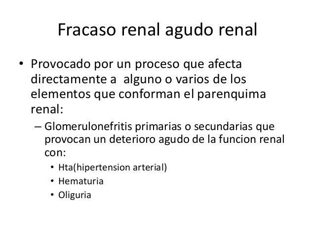 Fracaso renal agudo renal• Provocado por un proceso que afecta  directamente a alguno o varios de los  elementos que confo...