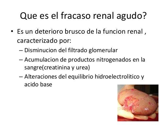 Que es el fracaso renal agudo?• Es un deterioro brusco de la funcion renal ,  caracterizado por:  – Disminucion del filtra...