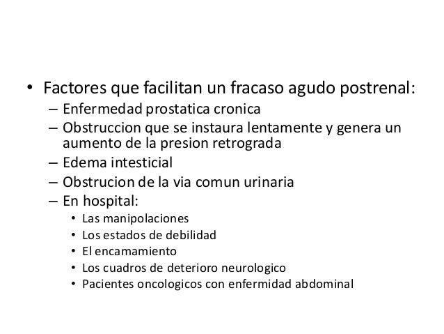 • Factores que facilitan un fracaso agudo postrenal:  – Enfermedad prostatica cronica  – Obstruccion que se instaura lenta...
