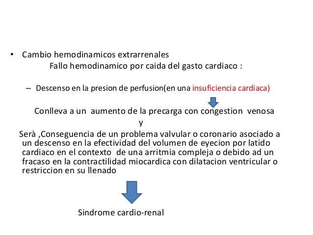 • Cambio hemodinamicos extrarrenales        Fallo hemodinamico por caida del gasto cardiaco :   – Descenso en la presion d...