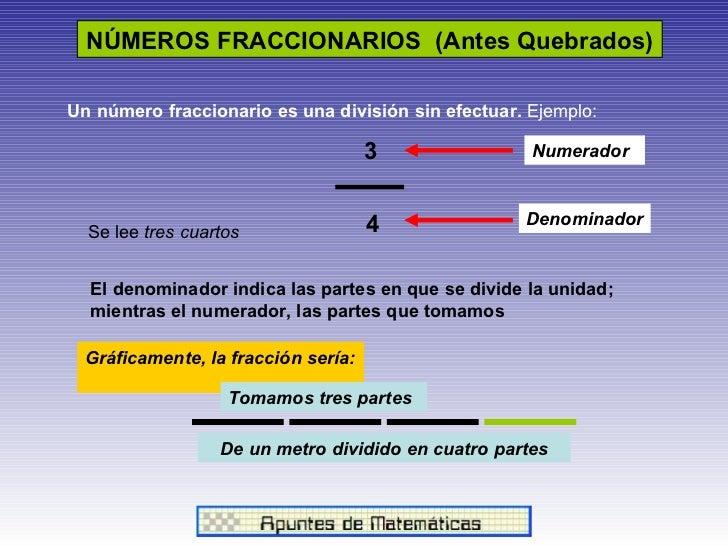 NÚMEROS FRACCIONARIOS  (Antes Quebrados)   3 4 Numerador Denominador Se lee  tres cuartos El denominador indica las partes...