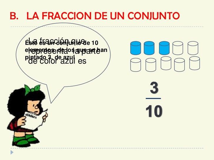 B.   LA FRACCION DE UN CONJUNTO<br />La fracción que <br />representa  la parte <br />de color azul es    <br />Éste es un...