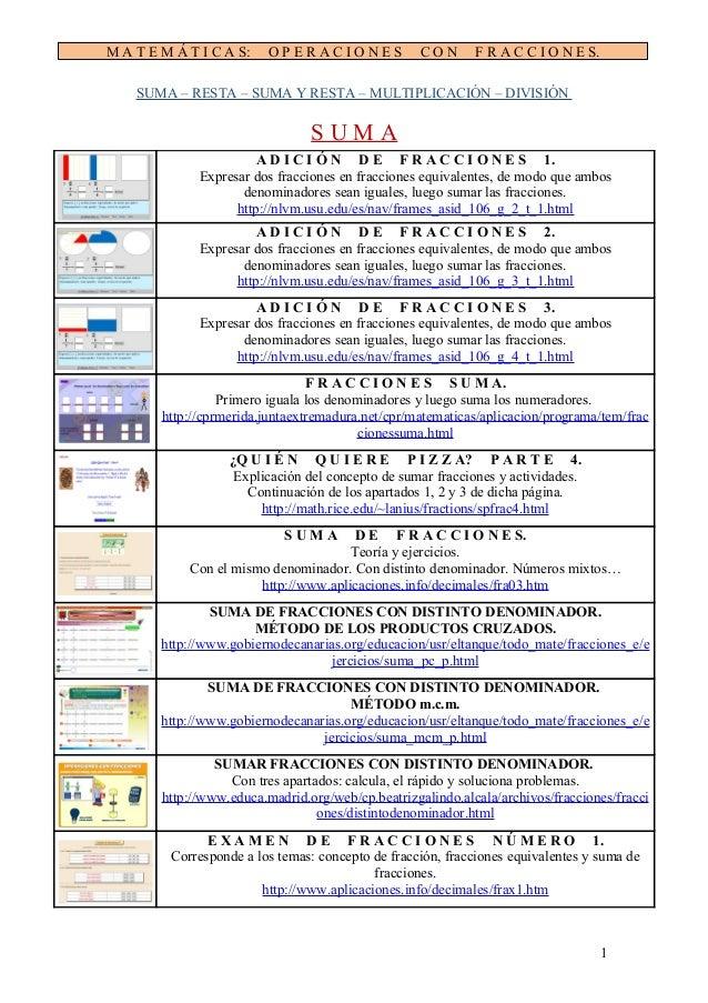 M A T E M Á T I C A S:  OPERACIONES  CON  F R A C C I O N E S.  SUMA – RESTA – SUMA Y RESTA – MULTIPLICACIÓN – DIVISIÓN  S...