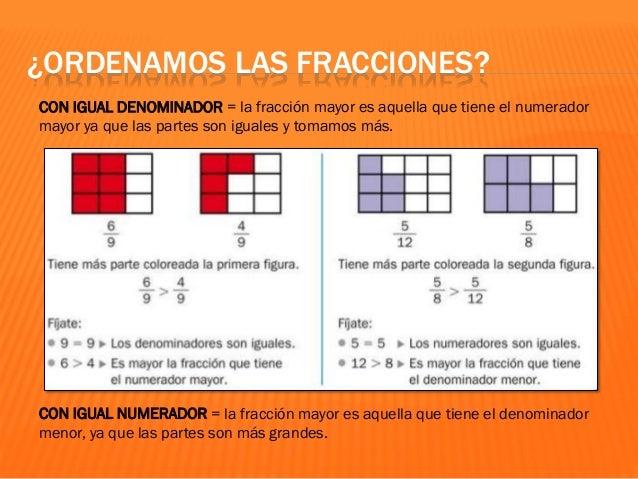 ¿ORDENAMOS LAS FRACCIONES? CON DISTINTO NUMERADOR Y DENOMINADOR = podemos representarlo con la misma figura geométrica, ca...