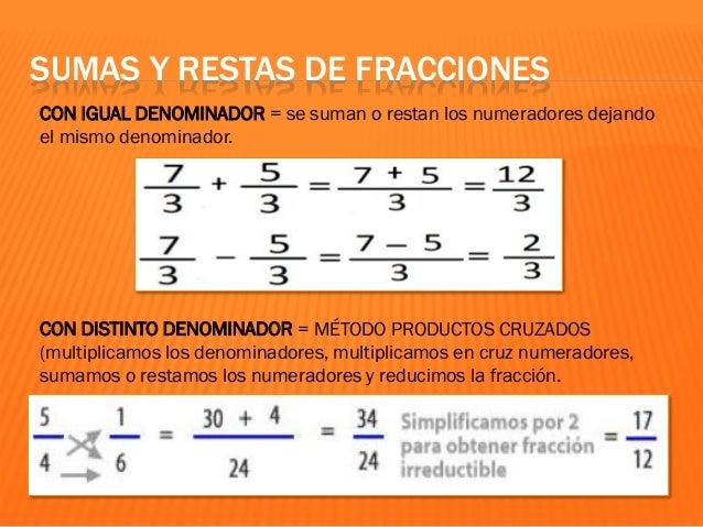 CON DISTINTO DENOMINADOR = MÉTODO DEL MÍNIMO COMÚN MÚLTIPLO (tomamos como denominador común el m.c.m. y como numerador la ...