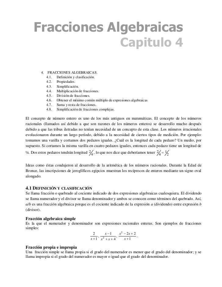Fracciones Algebraicas                                                              Capitulo 4           4.    FRACCIONES ...